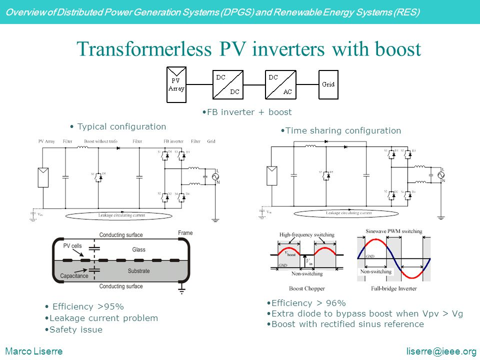 Overview of Distributed Power Generation Systems (DPGS) and Renewable Energy Systems (RES) Marco Liserre liserre@ieee.org Transformerless PV inverters