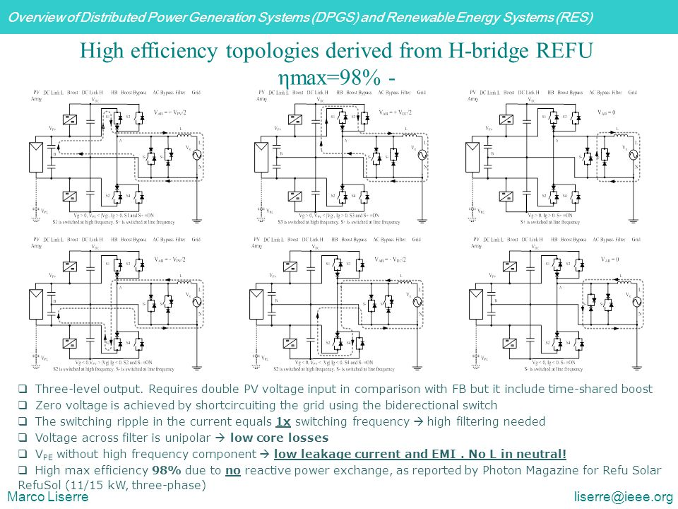 Overview of Distributed Power Generation Systems (DPGS) and Renewable Energy Systems (RES) Marco Liserre liserre@ieee.org High efficiency topologies d