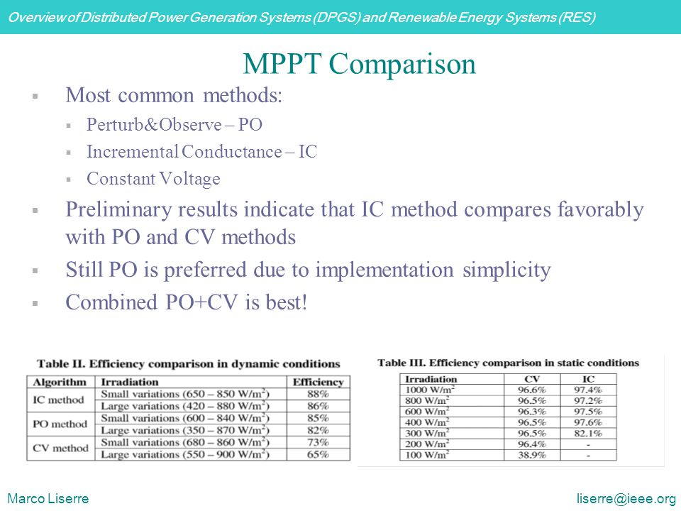Overview of Distributed Power Generation Systems (DPGS) and Renewable Energy Systems (RES) Marco Liserre liserre@ieee.org MPPT Comparison  Most commo
