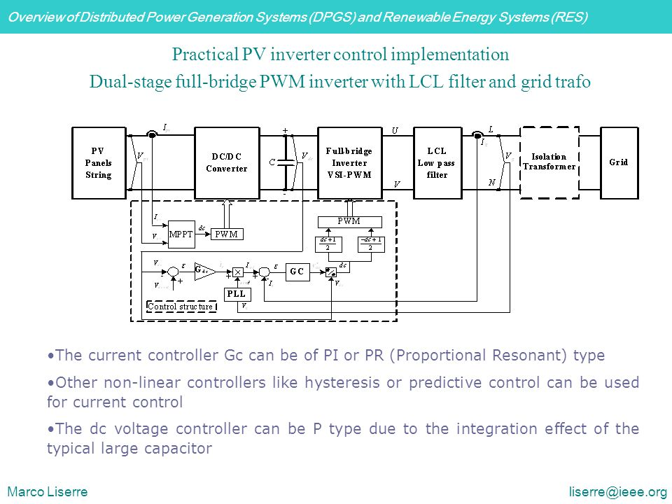 Overview of Distributed Power Generation Systems (DPGS) and Renewable Energy Systems (RES) Marco Liserre liserre@ieee.org Practical PV inverter contro