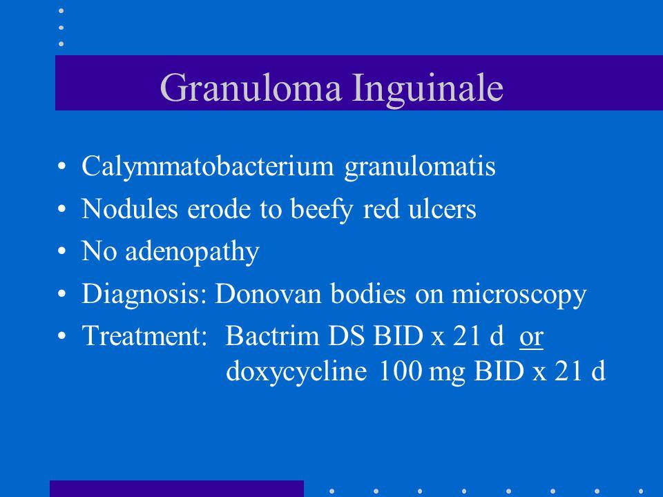 Granuloma Inguinale Calymmatobacterium granulomatis Nodules erode to beefy red ulcers No adenopathy Diagnosis: Donovan bodies on microscopy Treatment: