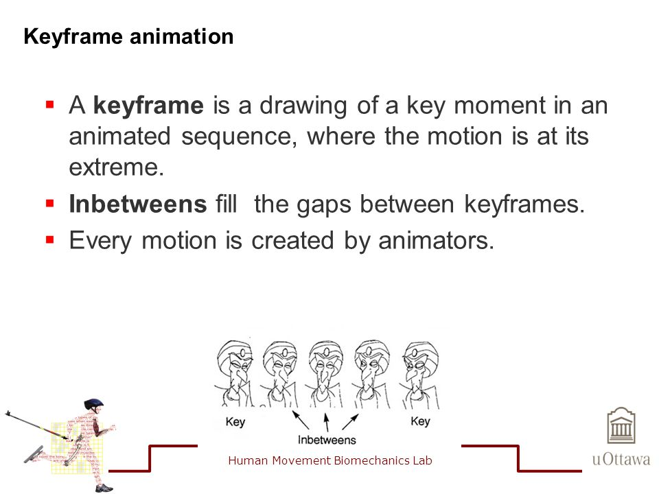 Keyframe animation  A keyframe is a drawing of a key moment in an animated sequence, where the motion is at its extreme.  Inbetweens fill the gaps b
