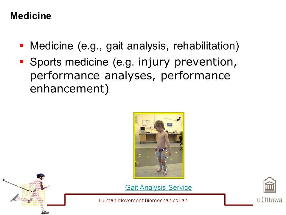 Medicine  Medicine (e.g., gait analysis, rehabilitation)  Sports medicine (e.g. injury prevention, performance analyses, performance enhancement) Ga
