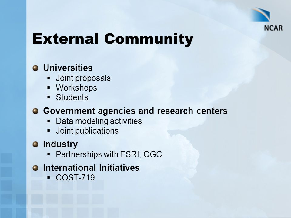 External Community Universities  Joint proposals  Workshops  Students Government agencies and research centers  Data modeling activities  Joint publications Industry  Partnerships with ESRI, OGC International Initiatives  COST-719