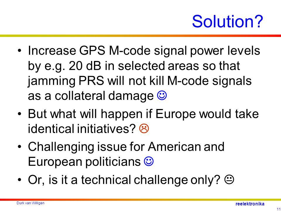 Durk van Willigen 11 reelektronika Solution.Increase GPS M-code signal power levels by e.g.