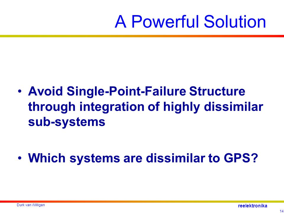 Durk van Willigen 14 reelektronika A Powerful Solution Avoid Single-Point-Failure Structure through integration of highly dissimilar sub-systems Which systems are dissimilar to GPS?