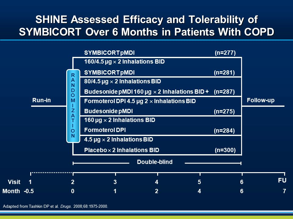 SHINE Assessed Efficacy and Tolerability of SYMBICORT Over 6 Months in Patients With COPD Adapted from Tashkin DP et al. Drugs. 2008;68:1975-2000. Run