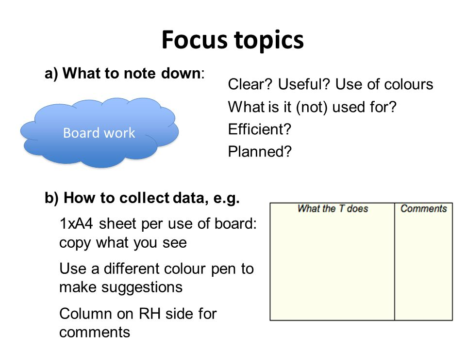 Focus topics a) What to note down: b) How to collect data, e.g.
