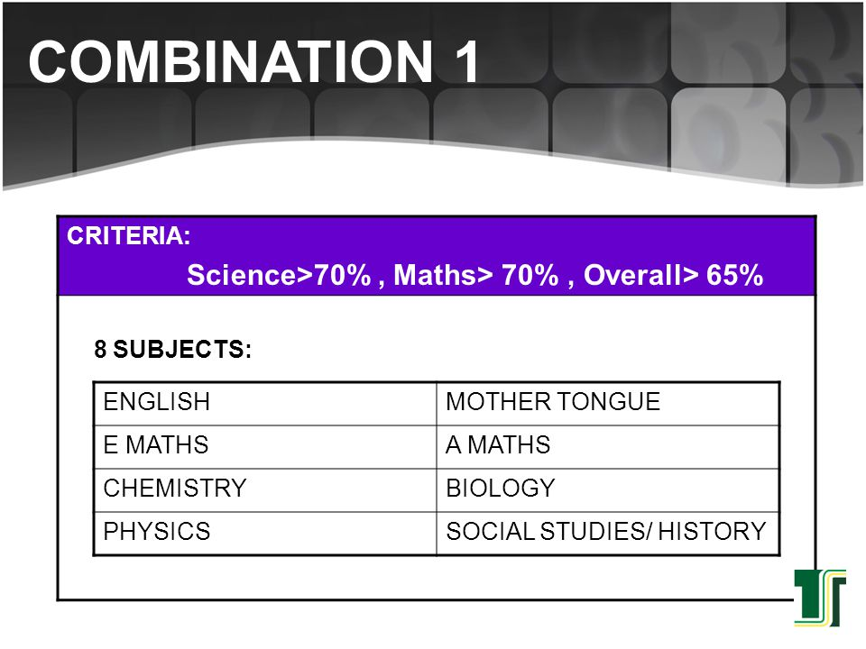 CRITERIA: Science> 65%, Maths> 70% 7 SUBJECTS: ENGLISHMOTHER TONGUE E MATHSA MATHS CHEMISTRYBIOLOGY/PHYSICS SOCIAL STUDIES/ HISTORY COMBINATION 2