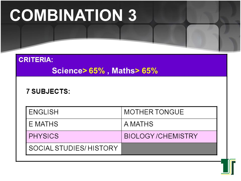 CRITERIA: Science> 65%, Maths> 65% 7 SUBJECTS: ENGLISHMOTHER TONGUE E MATHSA MATHS PHYSICSBIOLOGY /CHEMISTRY SOCIAL STUDIES/ HISTORY COMBINATION 3