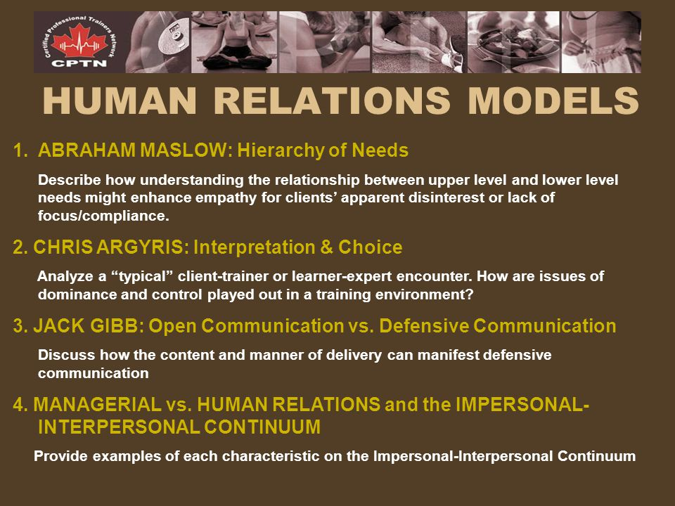 HUMAN RELATIONS MODELS 1.ABRAHAM MASLOW: Hierarchy of Needs Describe how understanding the relationship between upper level and lower level needs migh