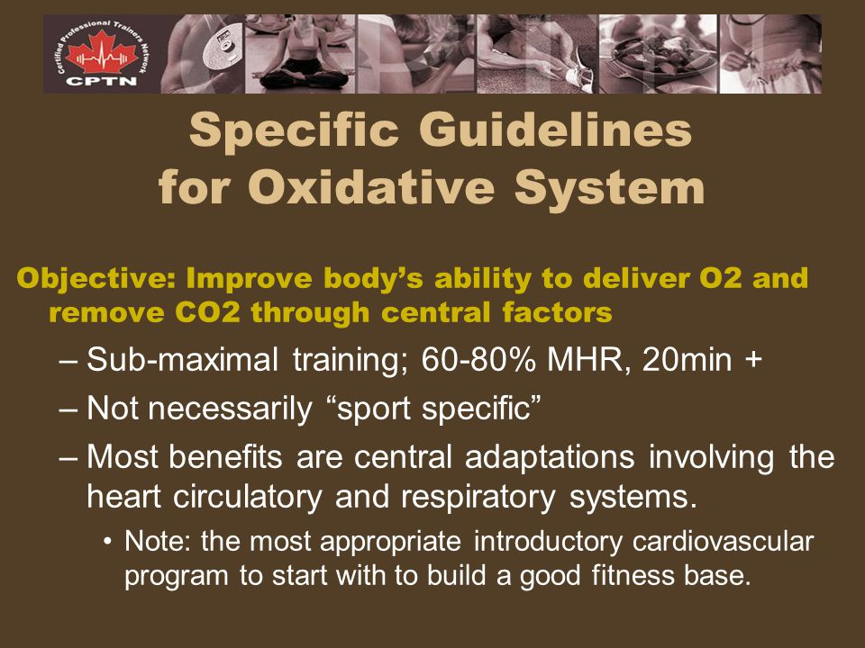 "Objective: Improve body's ability to deliver O2 and remove CO2 through central factors –Sub-maximal training; 60-80% MHR, 20min + –Not necessarily ""sp"