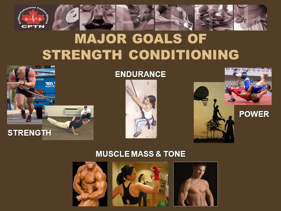 MAJOR GOALS OF STRENGTH CONDITIONING STRENGTH ENDURANCE POWER MUSCLE MASS & TONE