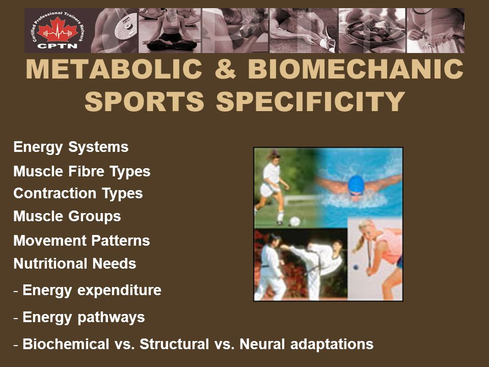 METABOLIC & BIOMECHANIC SPORTS SPECIFICITY Energy Systems Muscle Fibre Types Movement Patterns Muscle Groups Nutritional Needs - Energy expenditure -
