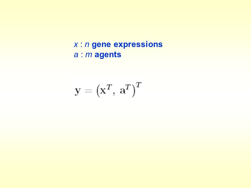 x : n gene expressions a : m agents