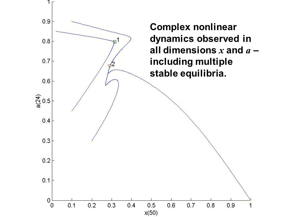Complex nonlinear dynamics observed in all dimensions x and a – including multiple stable equilibria.