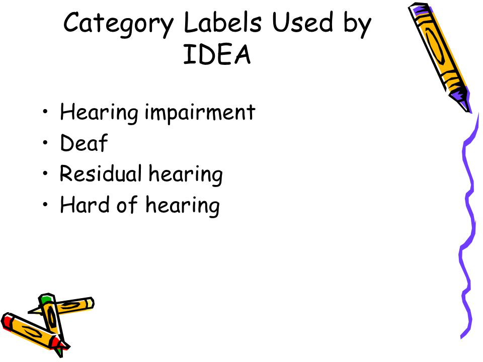 Category Labels Used by IDEA Hearing impairment Deaf Residual hearing Hard of hearing