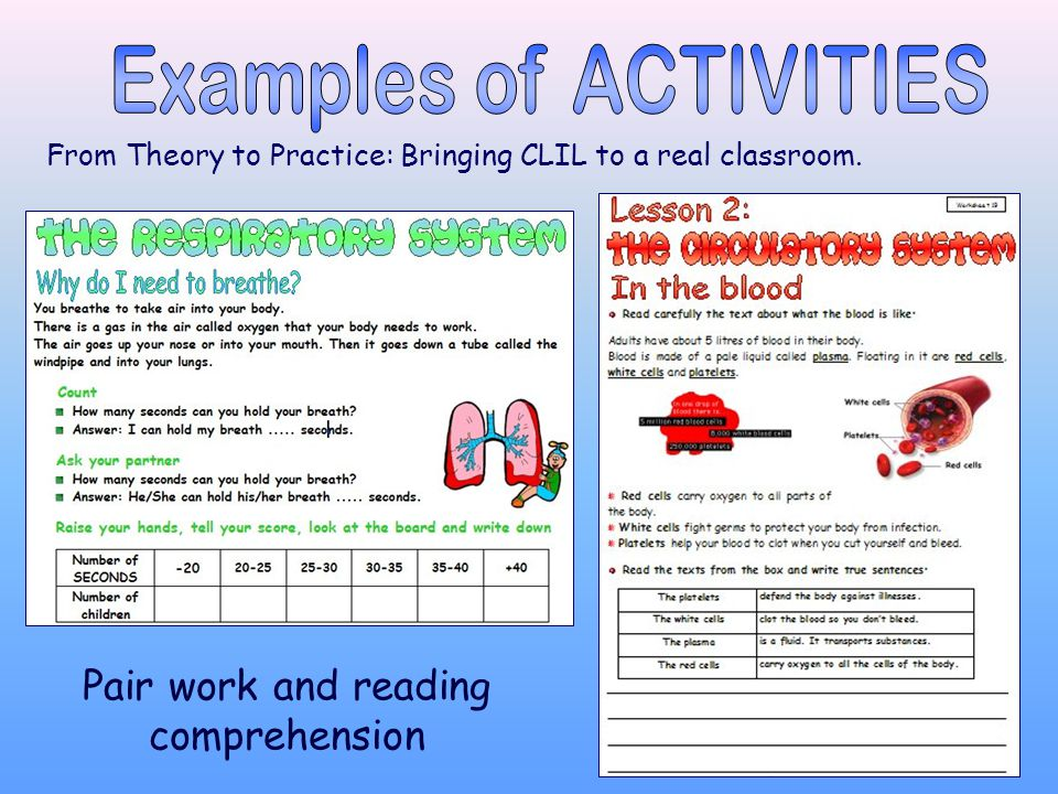 From Theory to Practice: Bringing CLIL to a real classroom. Pair work and reading comprehension