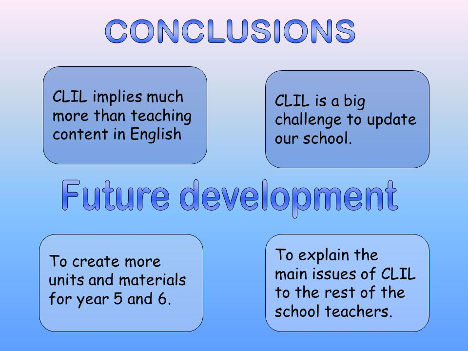 CLIL implies much more than teaching content in English CLIL is a big challenge to update our school.