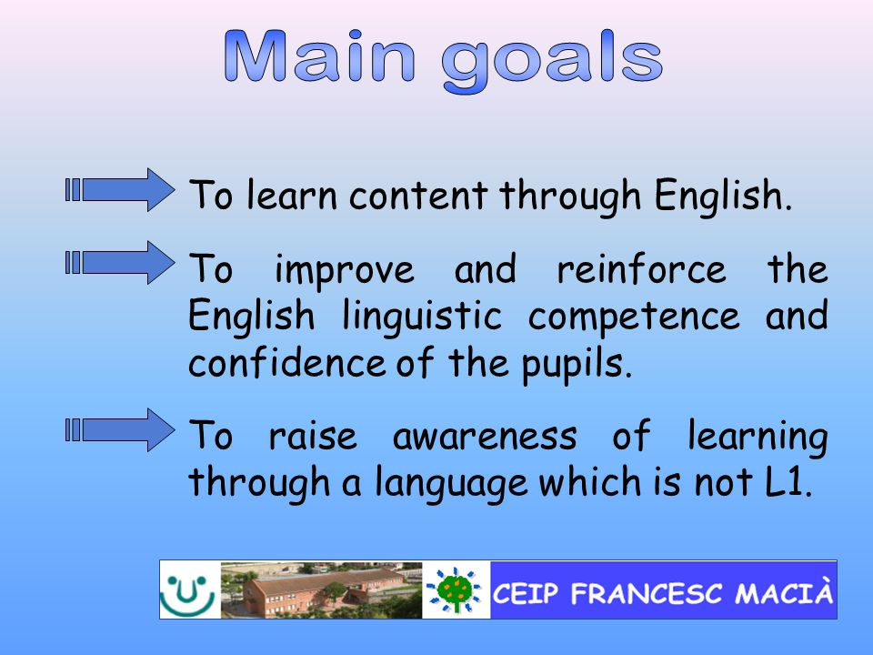 To learn content through English.