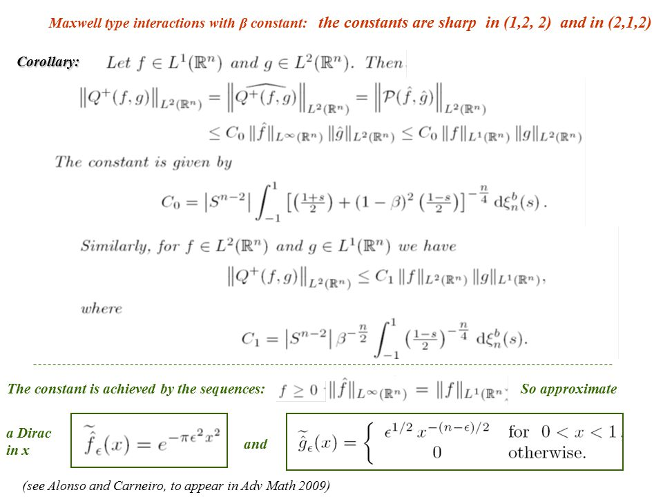 Maxwell type interactions with β constant: the constants are sharp in (1,2, 2) and in (2,1,2) Corollary: The constant is achieved by the sequences: an