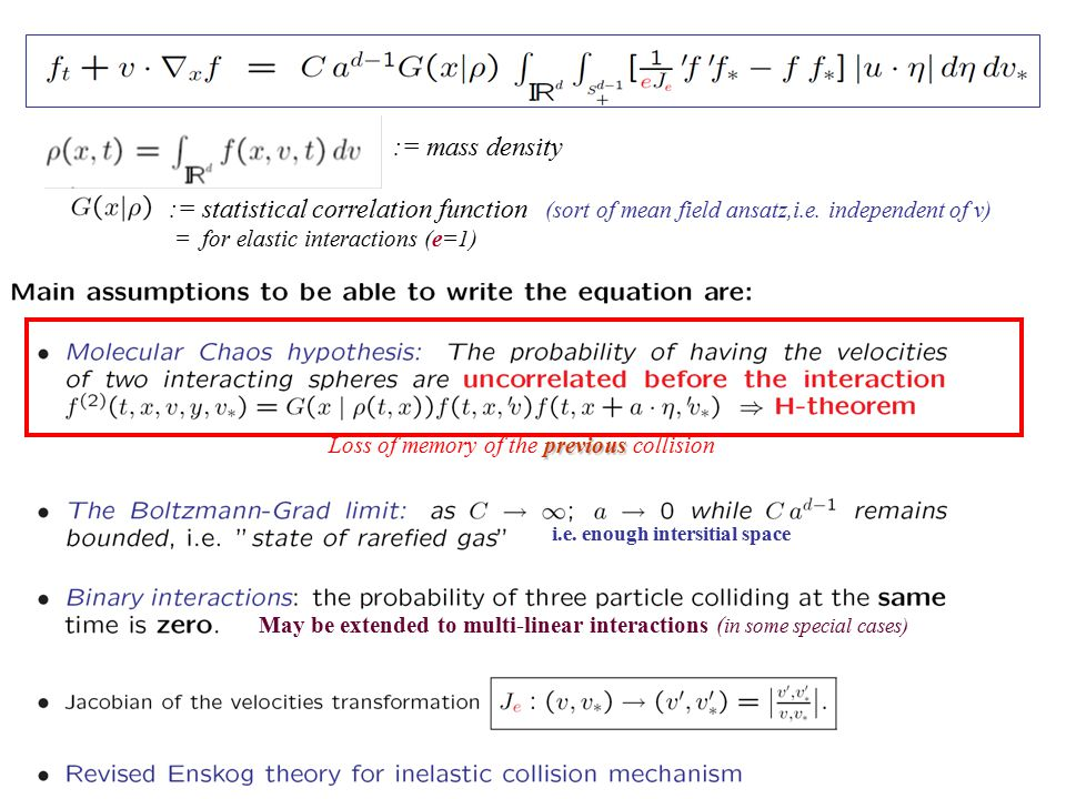 i.e. enough intersitial space May be extended to multi-linear interactions ( in some special cases) := statistical correlation function (sort of mean