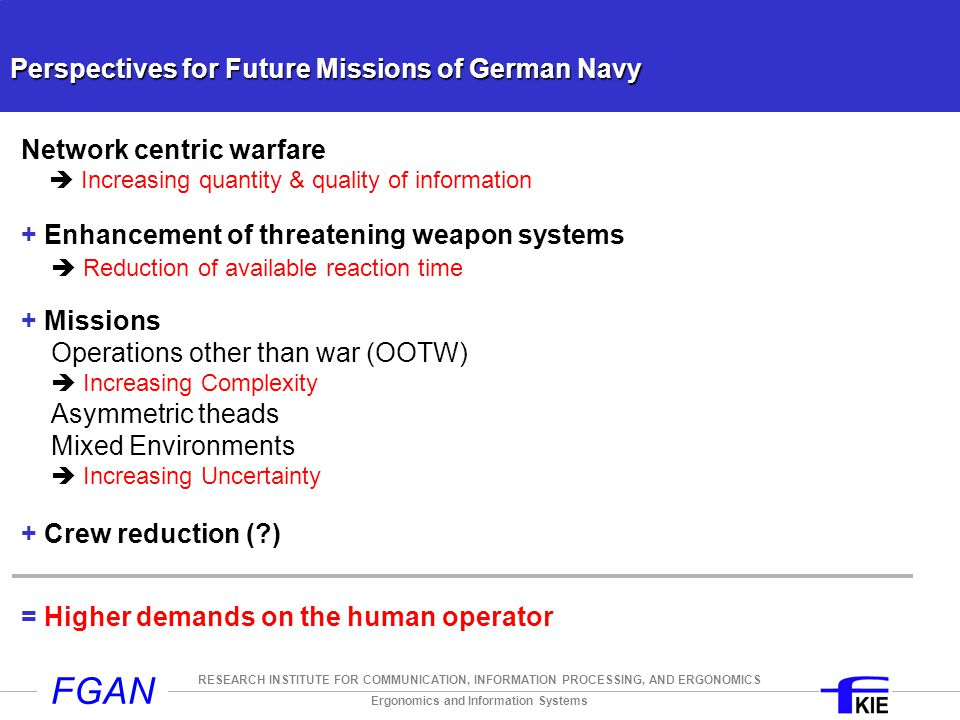 Ergonomics and Information Systems RESEARCH INSTITUTE FOR COMMUNICATION, INFORMATION PROCESSING, AND ERGONOMICS FGAN Perspectives for Future Missions of German Navy Network centric warfare  Increasing quantity & quality of information + Enhancement of threatening weapon systems  Reduction of available reaction time + Missions Operations other than war (OOTW)  Increasing Complexity Asymmetric theads Mixed Environments  Increasing Uncertainty + Crew reduction (?) = Higher demands on the human operator