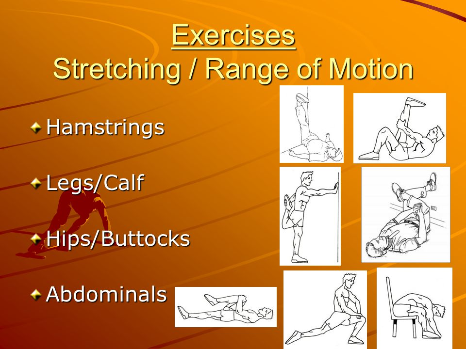 Exercises Stretching / Range of Motion HamstringsLegs/CalfHips/ButtocksAbdominals