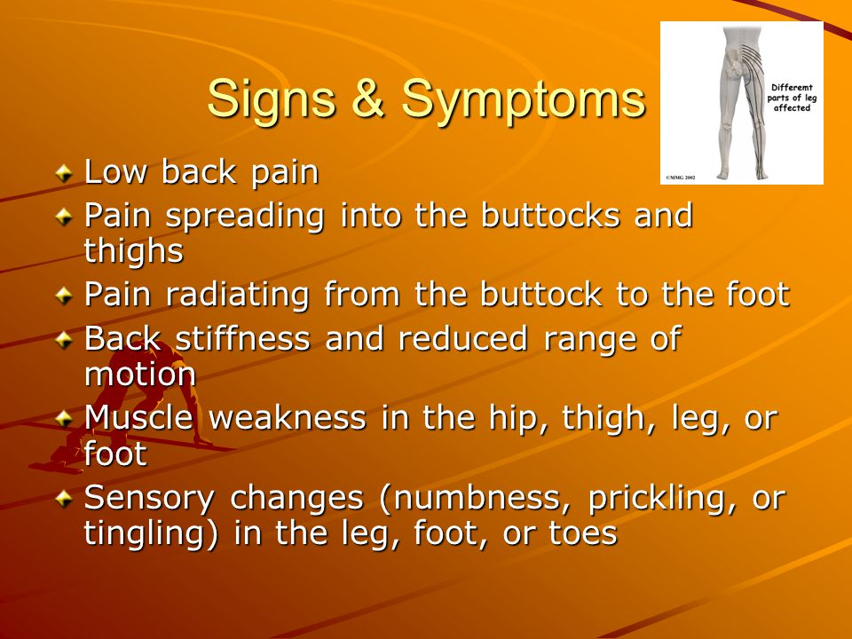Signs & Symptoms Low back pain Pain spreading into the buttocks and thighs Pain radiating from the buttock to the foot Back stiffness and reduced range of motion Muscle weakness in the hip, thigh, leg, or foot Sensory changes (numbness, prickling, or tingling) in the leg, foot, or toes