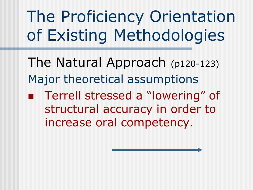 The Proficiency Orientation of Existing Methodologies The Natural Approach (p120-123) Guidelines for classroom Use simplified speech at first slower rate, with clear articulation, diminished contractions, longer pauses, and extra volume