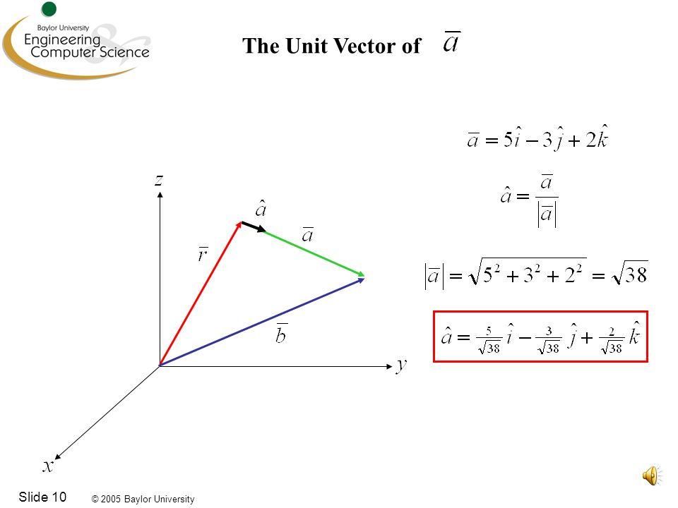 © 2005 Baylor University Slide 10 The Unit Vector of