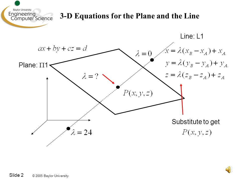 © 2005 Baylor University Slide 3 Find the Equation for the Plane Given A:(1,-2,1) B:(2,6,2) C:(-1,-2,3) Use the Three Point Form: Simplify: