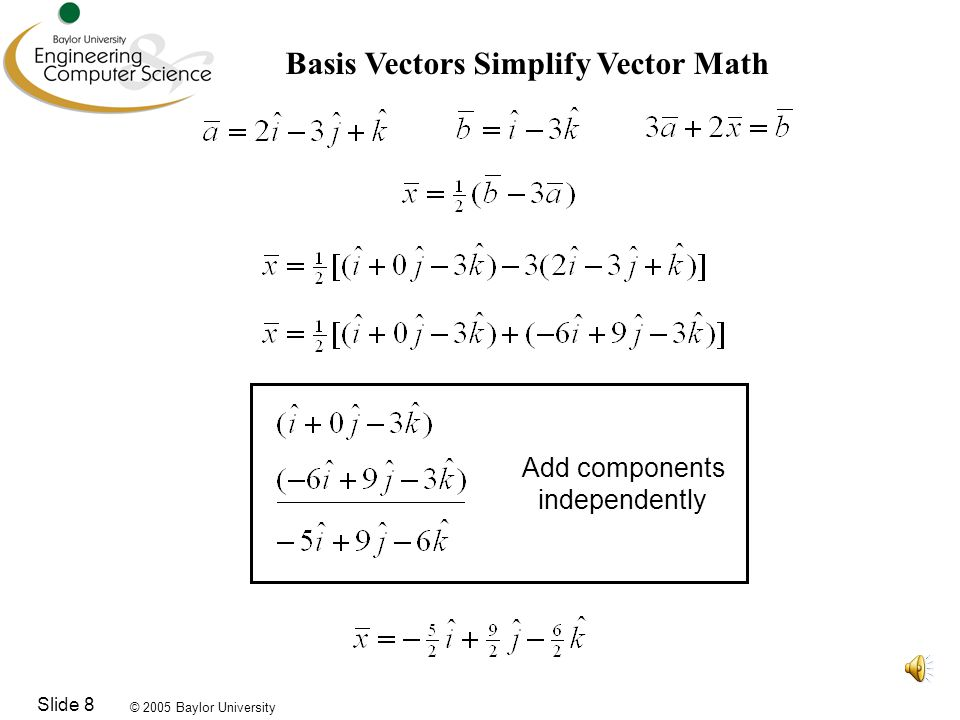 © 2005 Baylor University Slide 9 Position Vectors in Basis Vector Notation