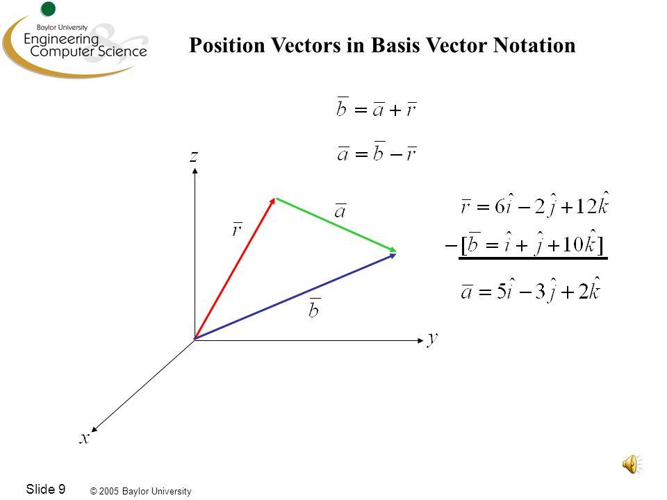 © 2005 Baylor University Slide 9 Position Vectors in Basis Vector Notation