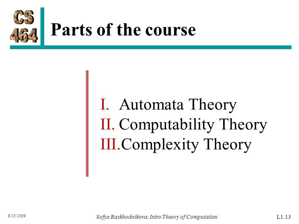 Parts of the course Sofya Raskhodnikova; Intro Theory of Computation 8/25/2009 I.Automata Theory II.Computability Theory III.Complexity Theory L1.13