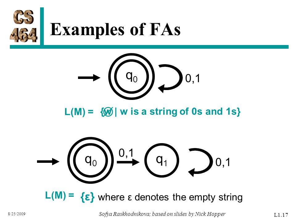 Examples of FAs 8/25/2009 Sofya Raskhodnikova; based on slides by Nick Hopper L1.17 0,1 q0q0 L(M) = {w | w is a string of 0s and 1s}  q0q0 L(M) = {ε} where ε denotes the empty string 0,1 q1q1