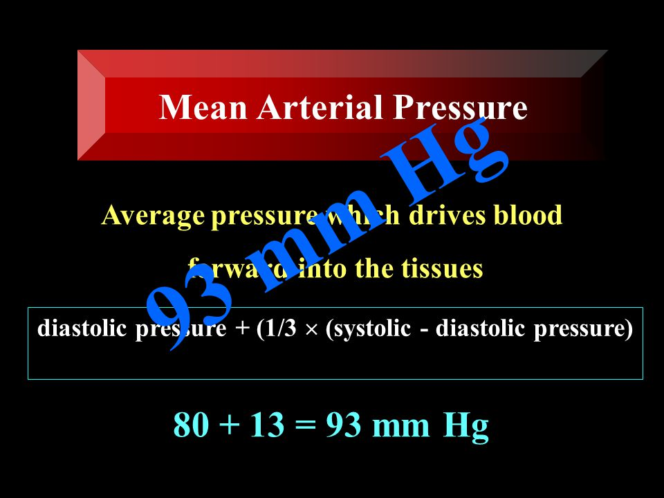 The difference between systolic and diastolic pressures (120 - 80 = 40 mm Hg) 40 mm Hg Pulse pressure