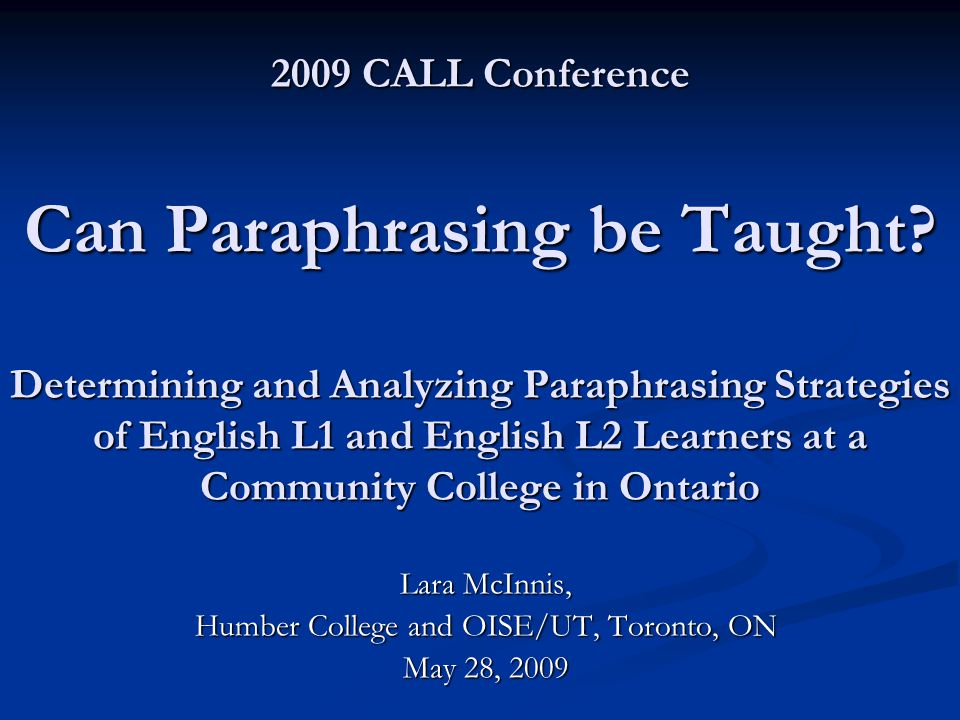 (Bauman, 2007) Excerpts for paraphrasing Criteria: 1.