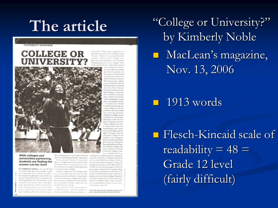 The article The article College or University by Kimberly Noble MacLean's magazine, Nov.