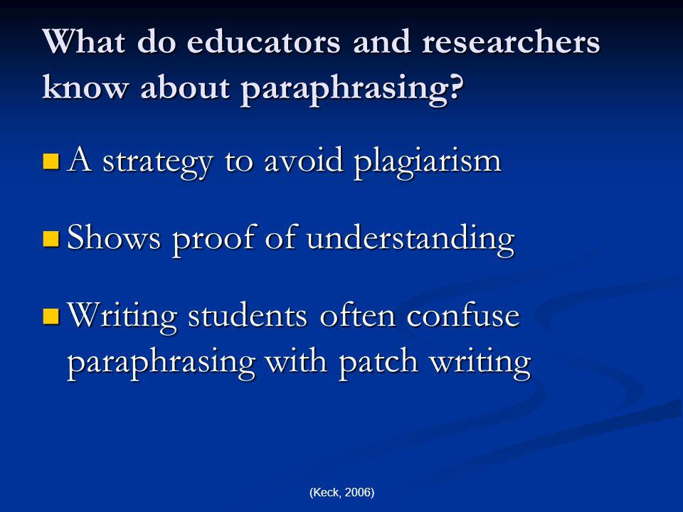 (Barks & Watts, 2001) How demanding is paraphrasing.