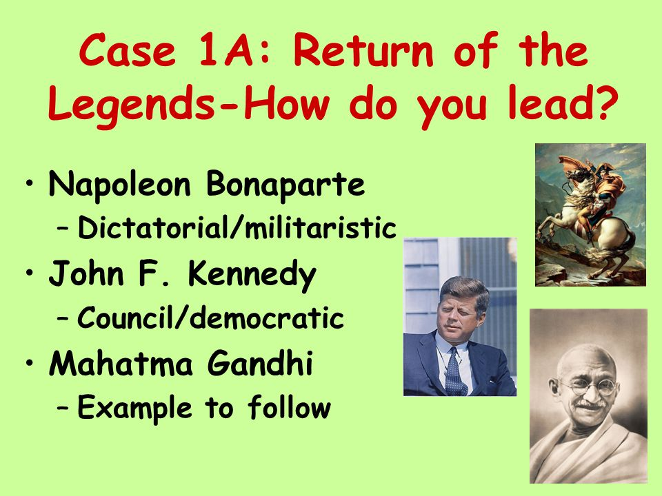 Case 1A: Return of the Legends-How do you lead.