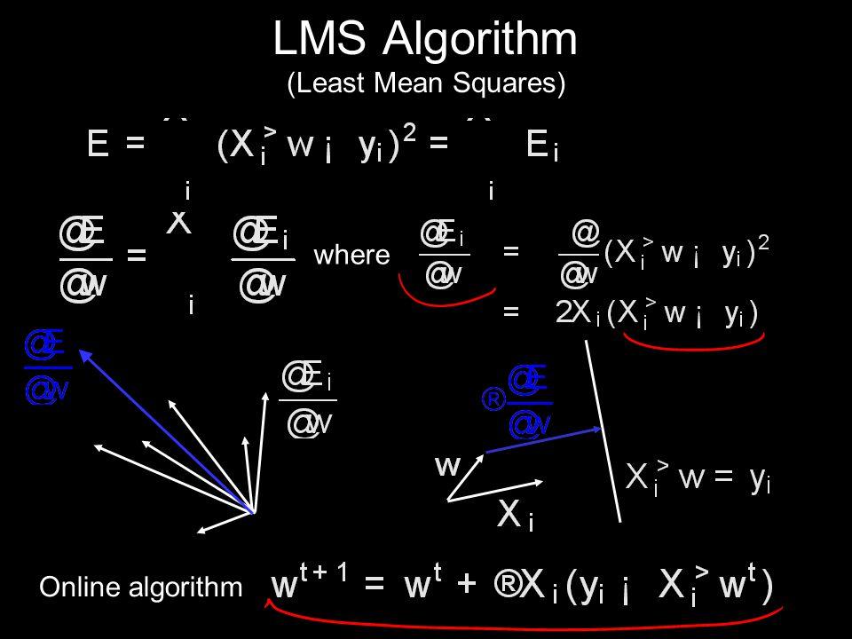 LMS Algorithm (Least Mean Squares) where Online algorithm