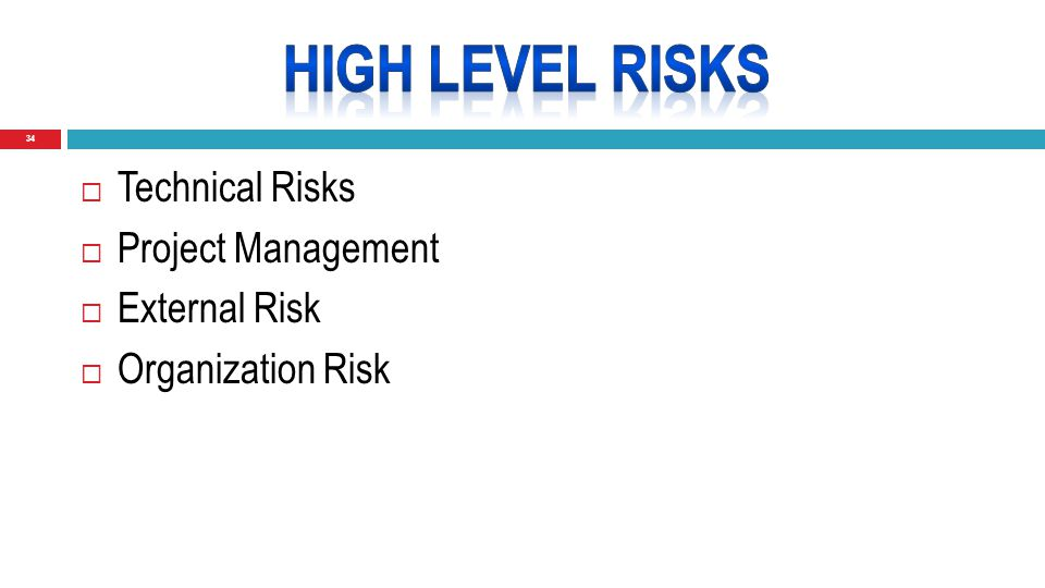 34  Technical Risks  Project Management  External Risk  Organization Risk
