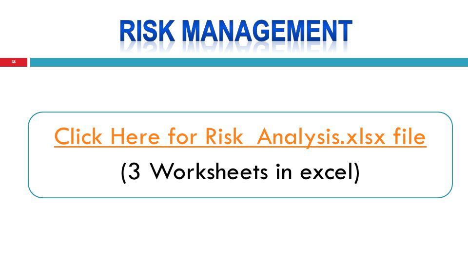 35 Click Here for Risk_Analysis.xlsx file (3 Worksheets in excel)