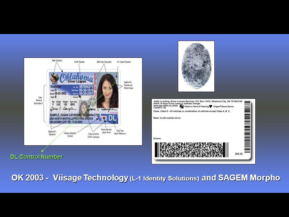 OK 2003 - Viisage Technology (L-1 Identity Solutions) and SAGEM Morpho DL Control Number