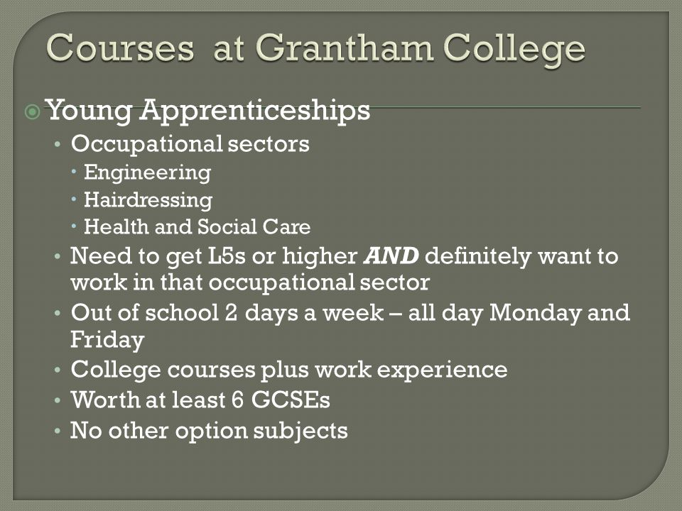  Young Apprenticeships Occupational sectors  Engineering  Hairdressing  Health and Social Care Need to get L5s or higher AND definitely want to wo