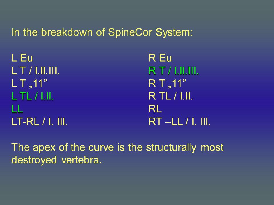 In the breakdown of SpineCor System: L EuR Eu R T / I.II.III.