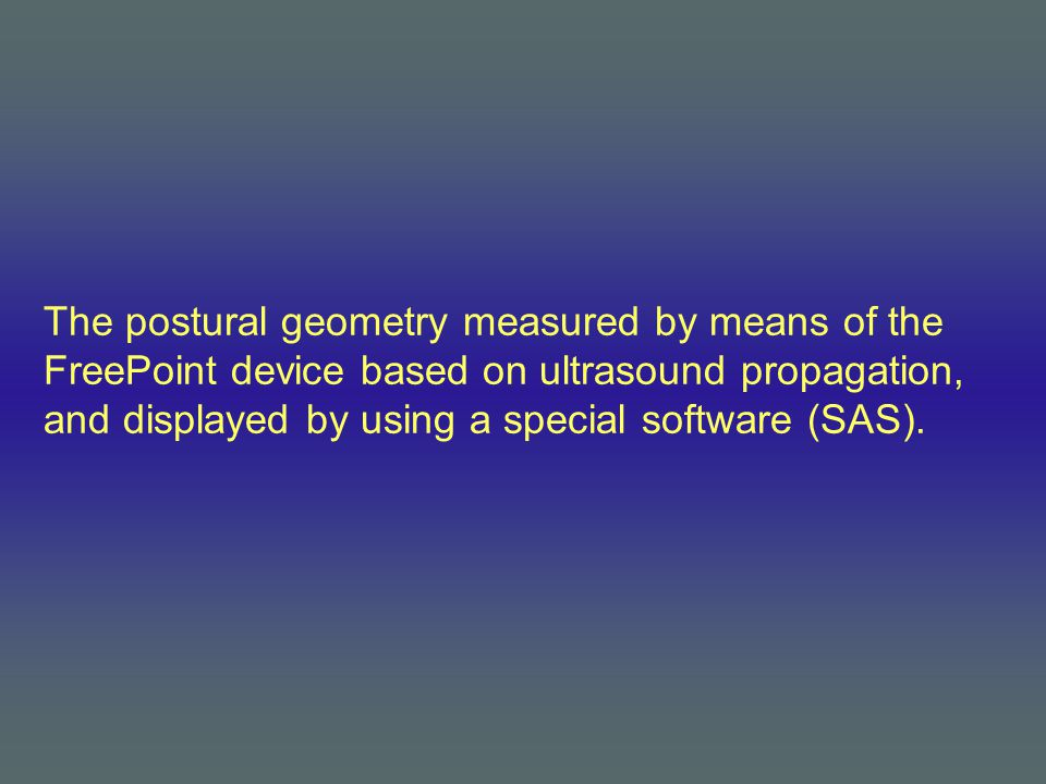 The postural geometry measured by means of the FreePoint device based on ultrasound propagation, and displayed by using a special software (SAS).