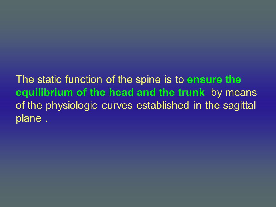 The static function of the spine is to ensure the equilibrium of the head and the trunk by means of the physiologic curves established in the sagittal