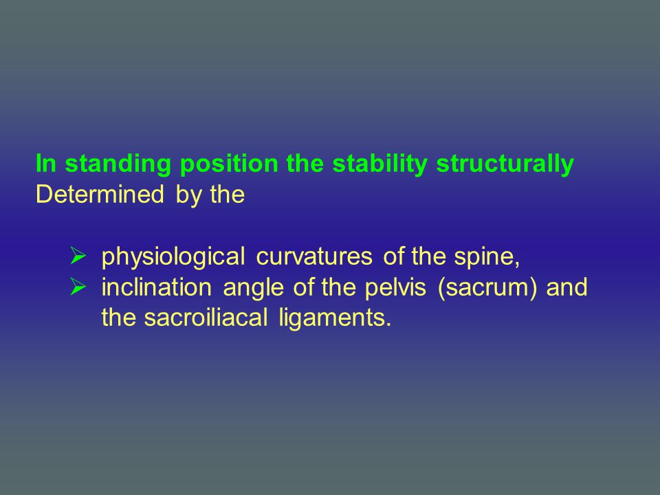 In standing position the stability structurally Determined by the  physiological curvatures of the spine,  inclination angle of the pelvis (sacrum)